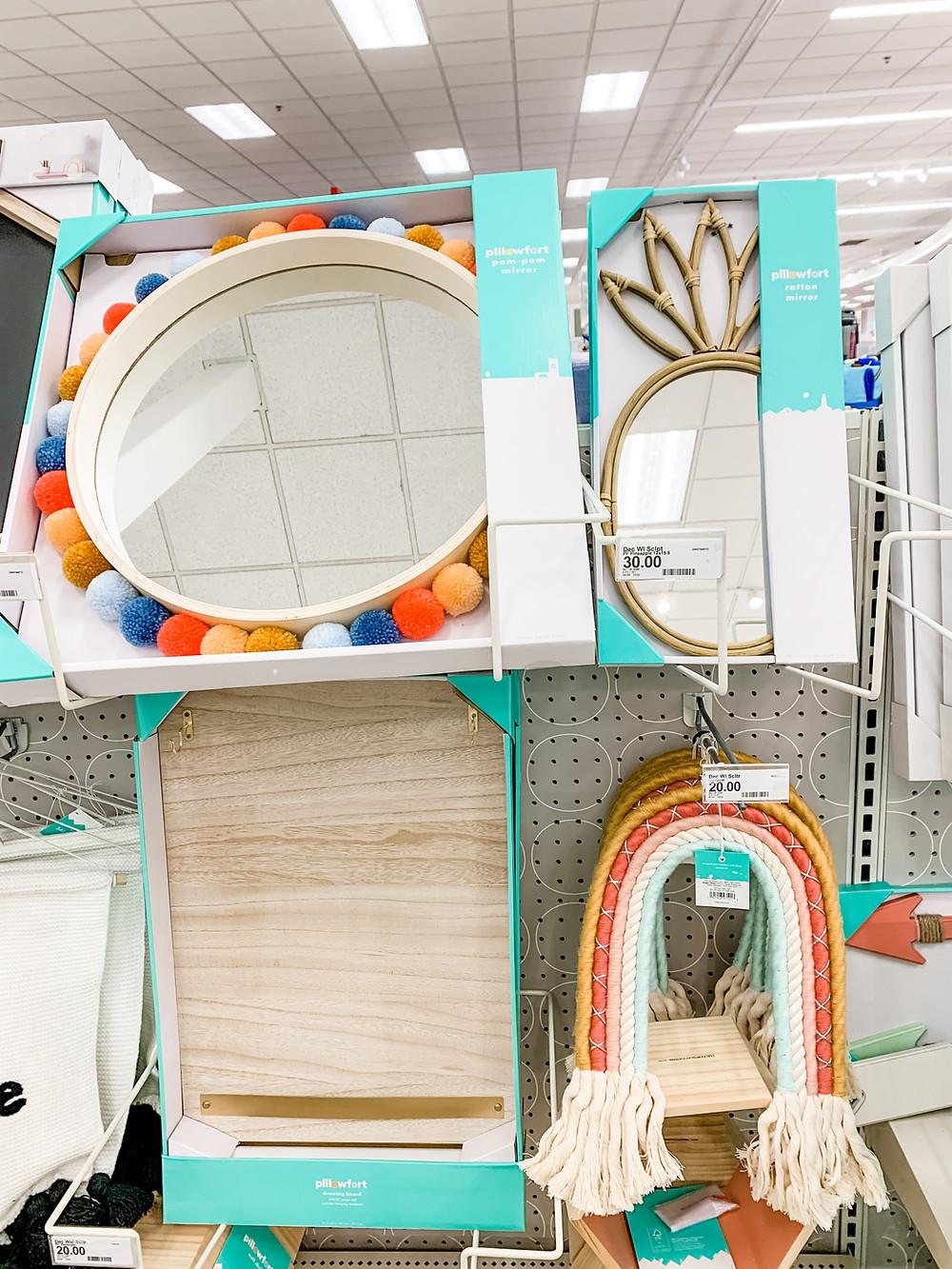 target pillowfort kids home accessories pom pom mirror pineapple mirror rattan shelf