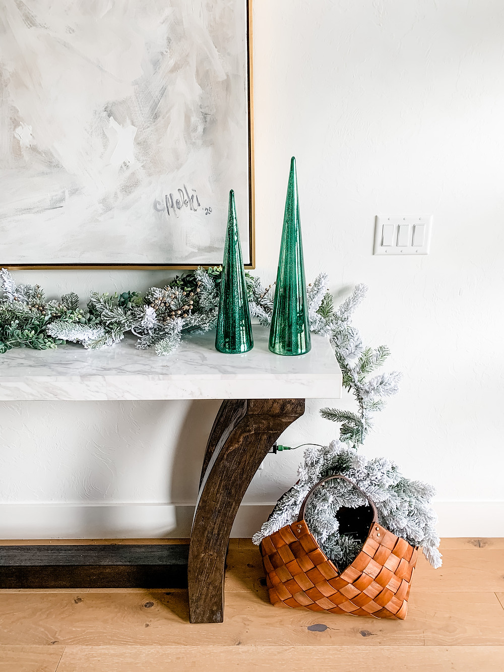 Modern Entryway Christmas Decor with Flocked Garland and Green Mercury Glass Cone Trees