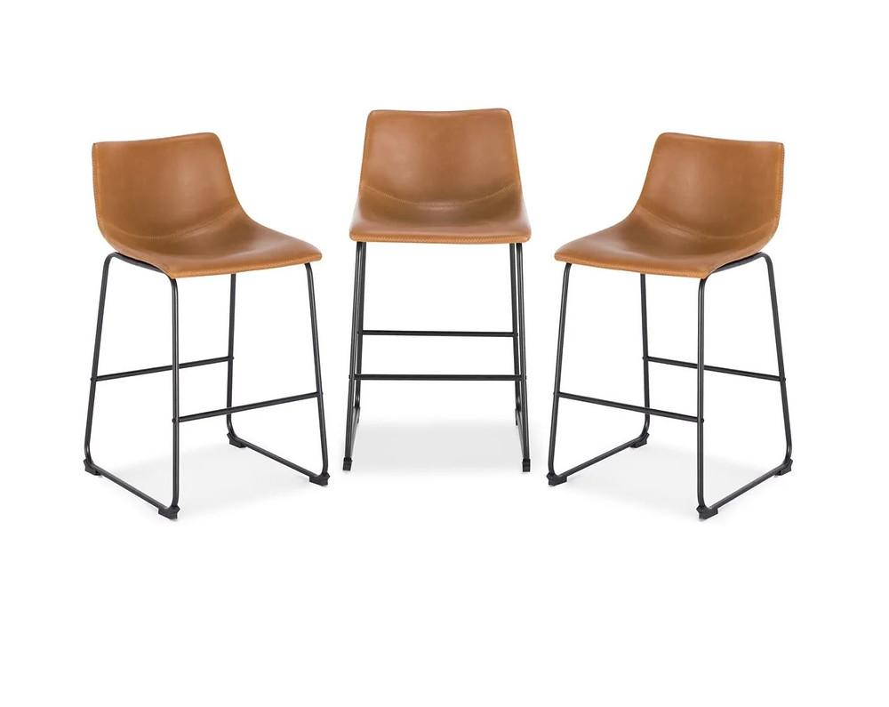 cognac leather barstools counterstools EdgeMod Brinley Steel Counter Stools (Set of 3)
