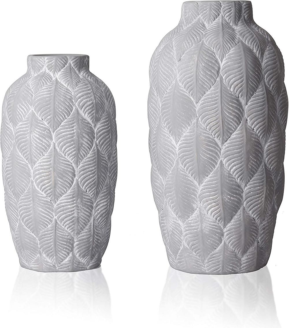 Rustic Ceramic Flower Vase,Tribal Decorative Farmhouse Vases with Geometric palm leaf pattern