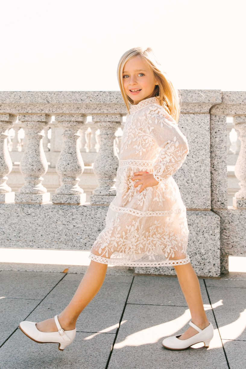 White lace girls special occasion dress