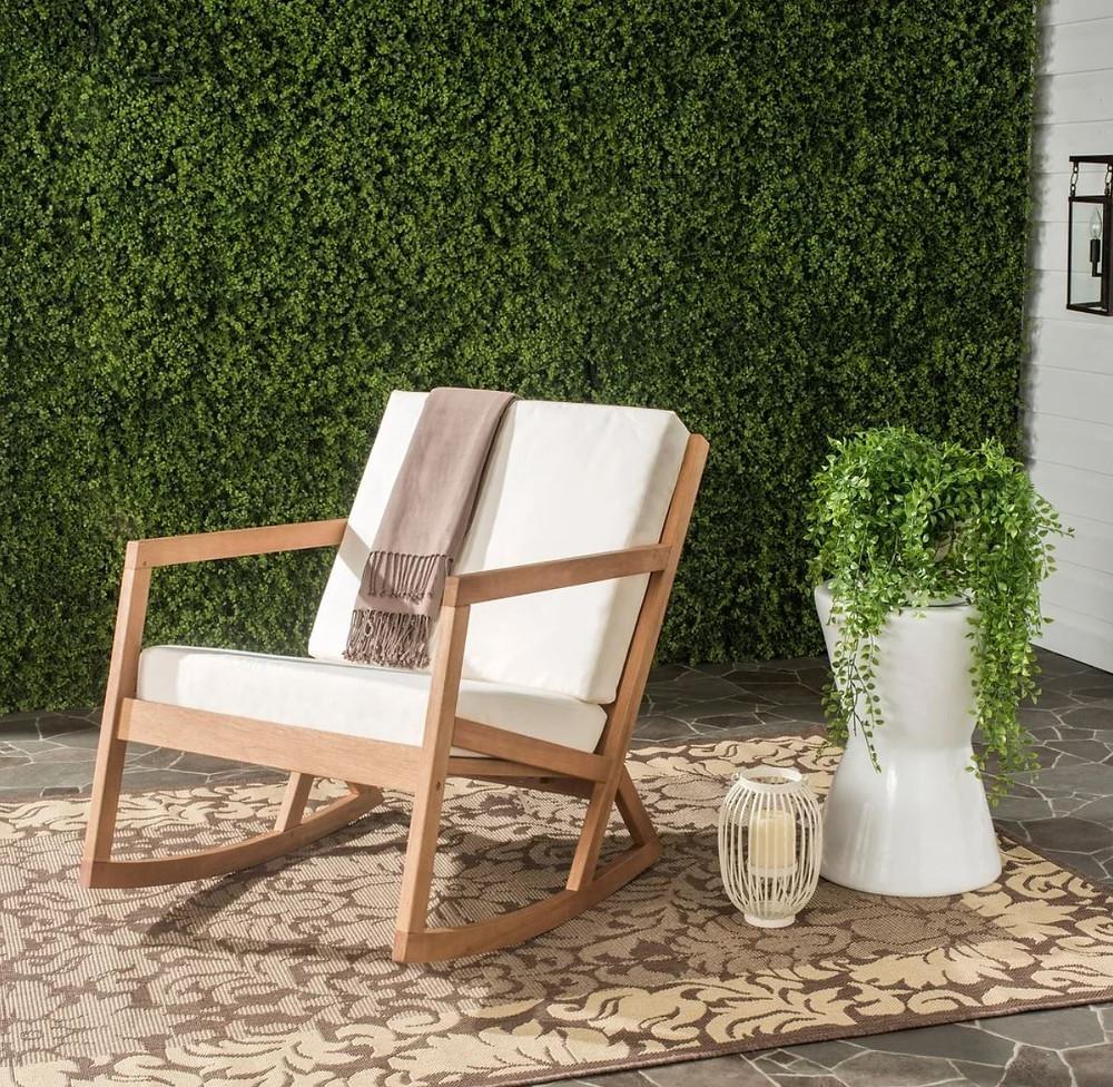 Safavieh Vernon Teak Outdoor Rocking Chair w/ White Cushions