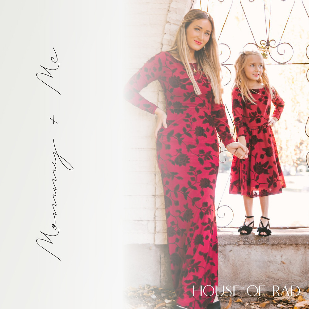 Mommy and Me Red and Black Floral Special Occasion Matching Dresses