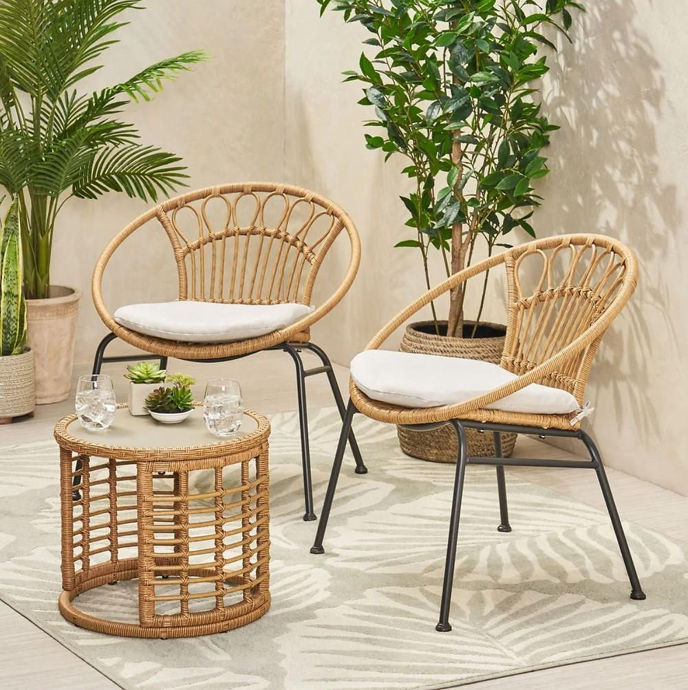 Specter Outdoor Faux Wicker Chat Set by Christopher Knight Home