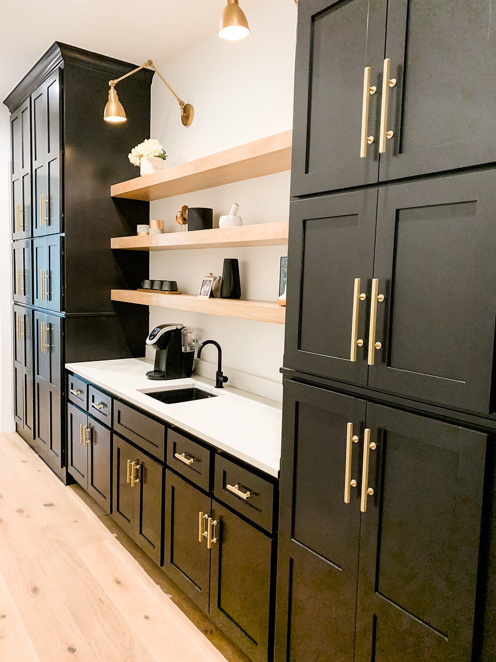 Sherwin Williams Tricorn Black Large Pantry Kitchen Cabinets
