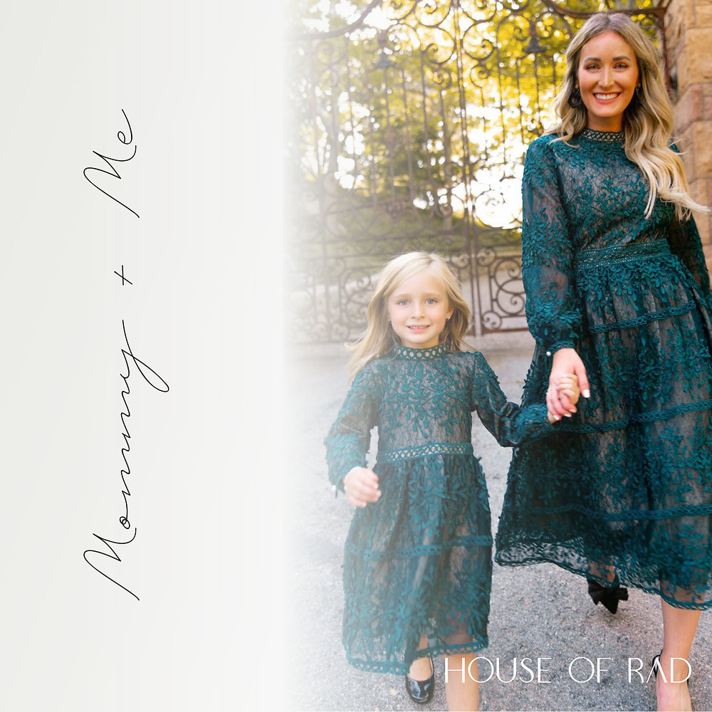 Emerald Green Mommy and Me Special Occasion or Christmas Dress