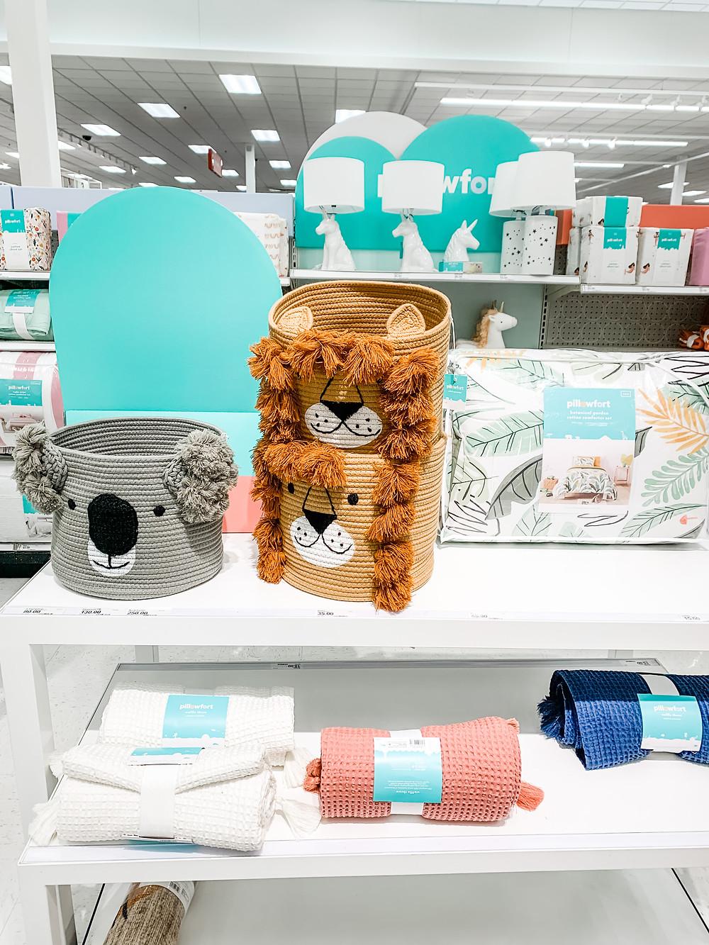 target pillowfort palm bedding set lion basket koala basket new line spring 2021
