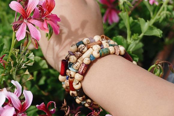 Vegetable ivory and wood bracelet
