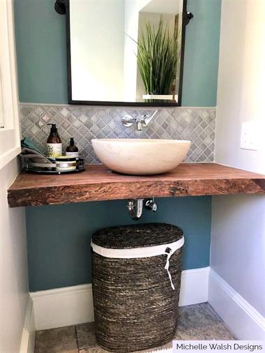 bathroom sink backsplash tile arabesque