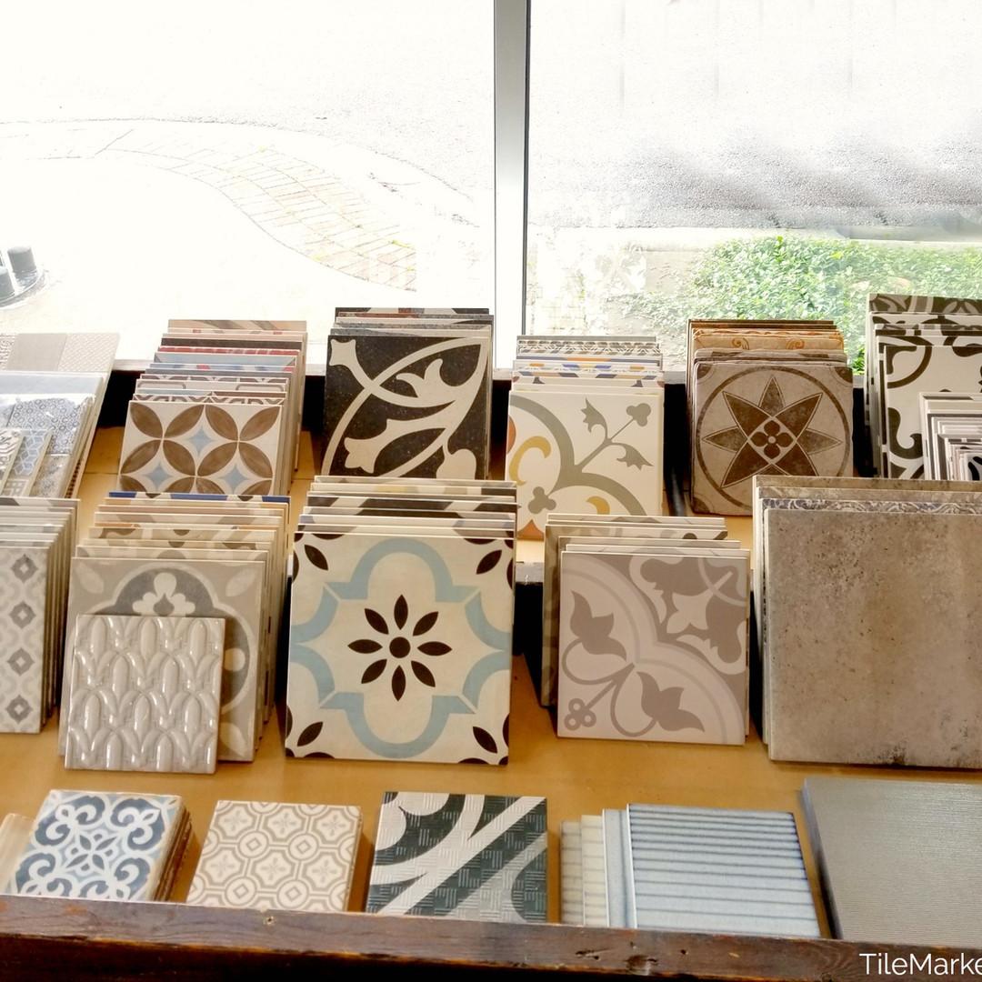 Porcelain cement look tile