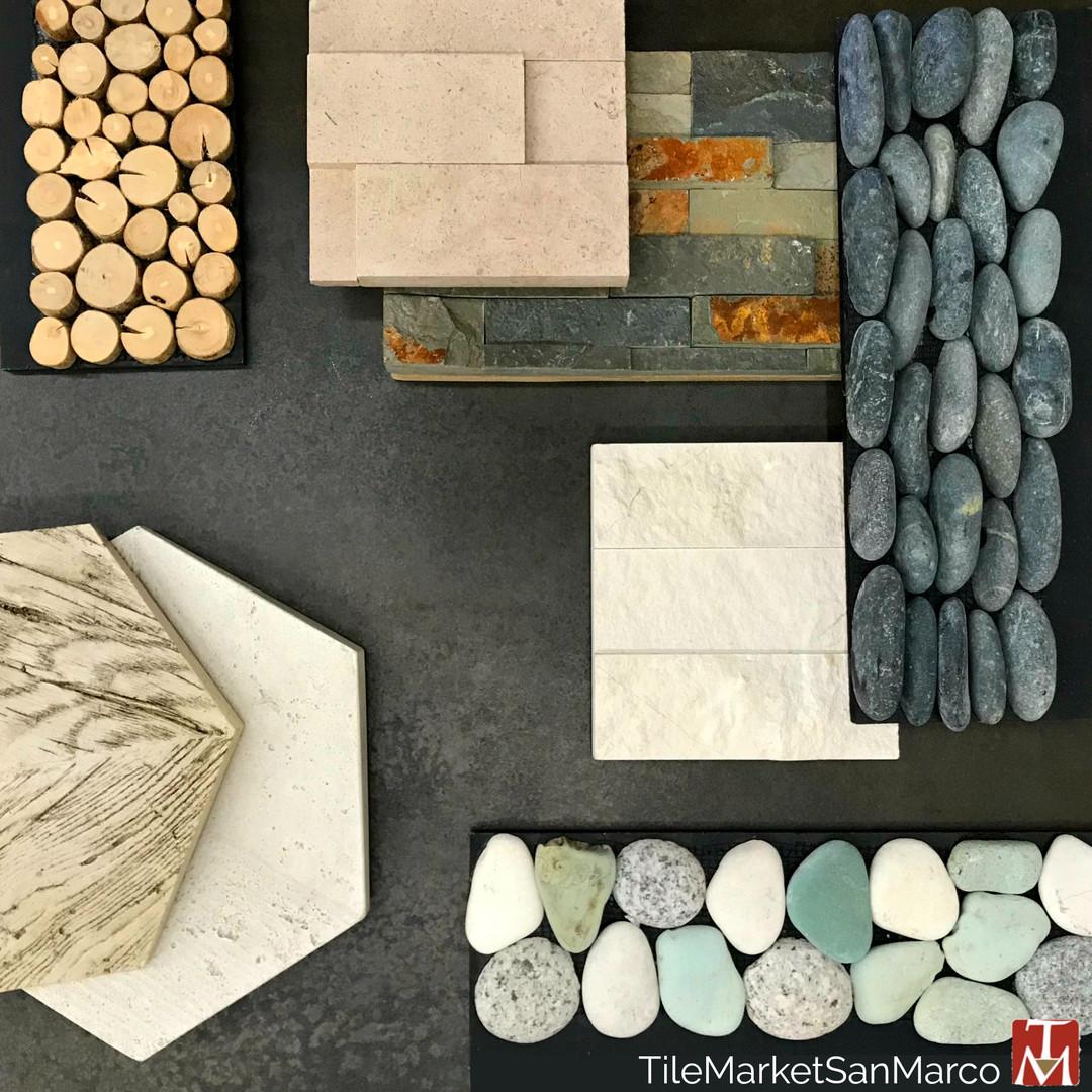Natural slate, wood and pebble tile