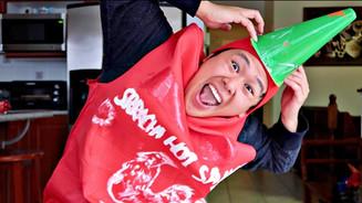 Drunk Guy Sleeps Cradling Bottle of Sriracha