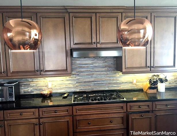 Customer's metallic tile kitchen backsplash