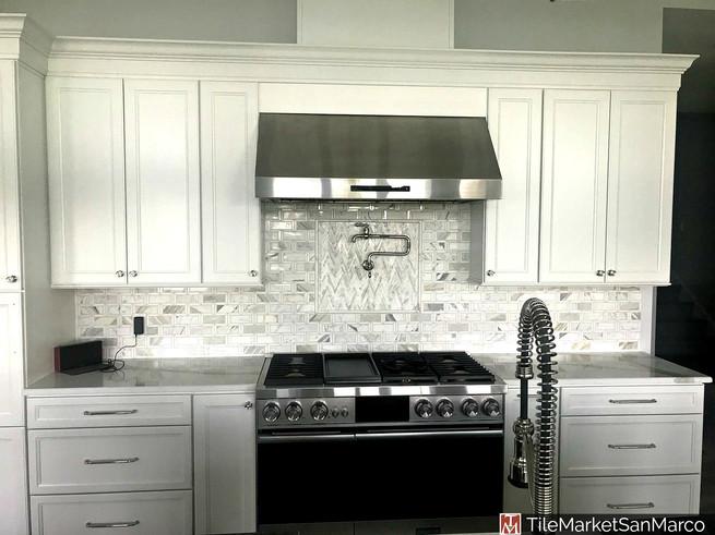 Marble mosaic tile kitchen backsplash