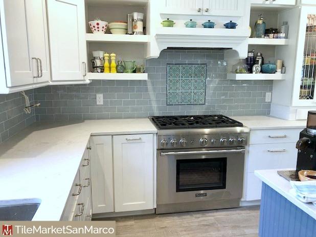 Kitchen backsplash handpainted tile