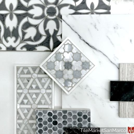 Natural stone tile mosaics