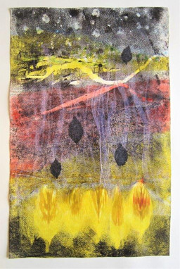 Flames of leaves  Monotype, 29X45 cm. 2020