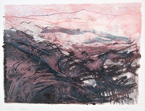 Desert in the spring  Trace monotype, 21X18 cm. 2020