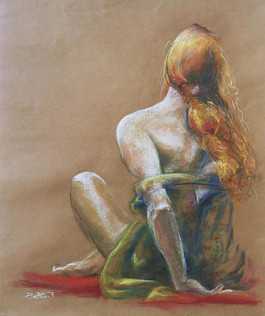 From the back Pastel on paper, 50X70 cm.