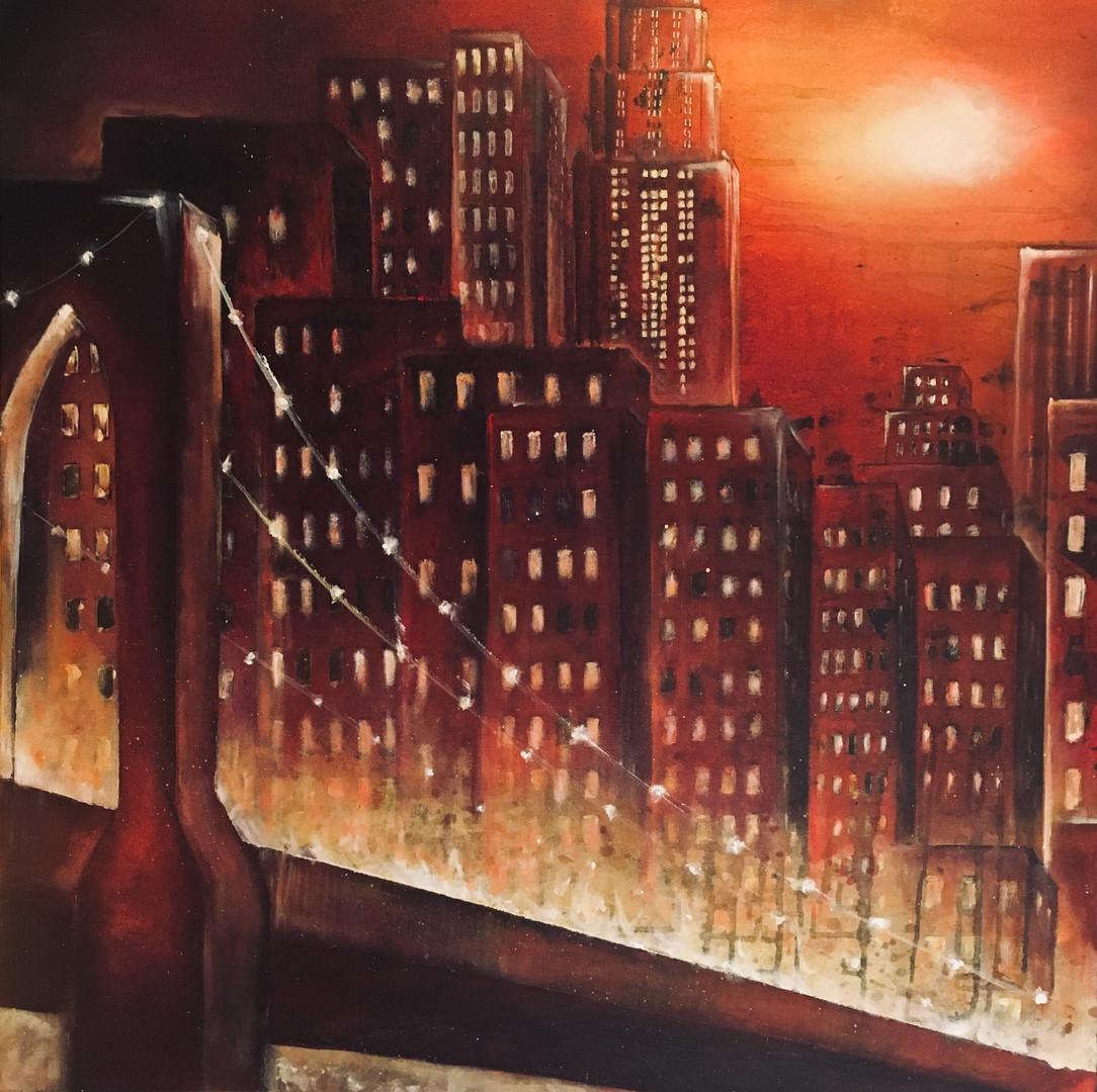 Karin Bergdahl, Bridges I, 80x80, akryl,