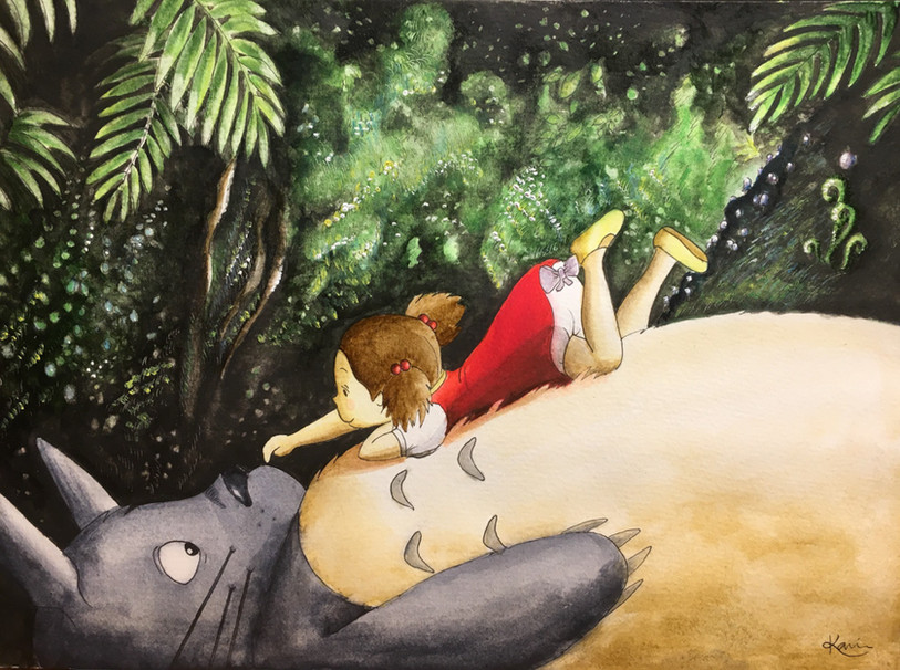 Karin Bergdahl, Mei möter Totoro, 21x30,