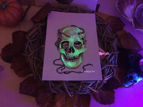 """The Hexed Skull"",  an original dark faerie artwork by Haltija Art"