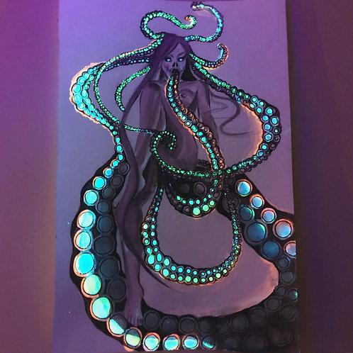 """The Octopus Mermaid"",  an original dark faerie artwork by Haltija Art"