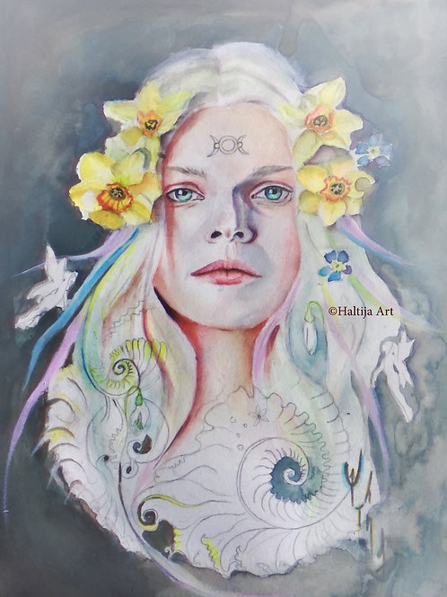 """Ostara"", an original faerie artwork by Haltija Art"