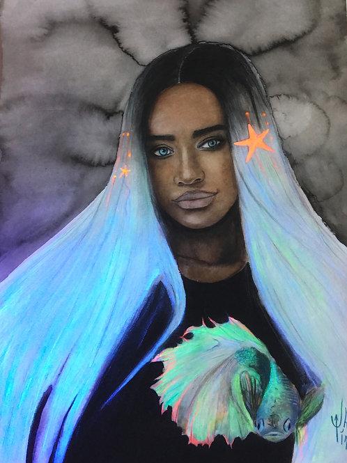 "The original watercolor artwork ""The black mermaid"" by Haltija Art"