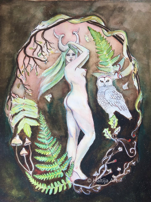 """The Mistress of Taiga"", an original faerie artwork by Haltija Art"