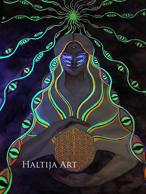 "The original watercolor artwork ""DNA Activation"" by Haltija Art"