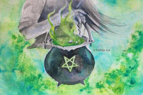 """The Boiling Potion"", an original faerie illustation by Haltija Art"