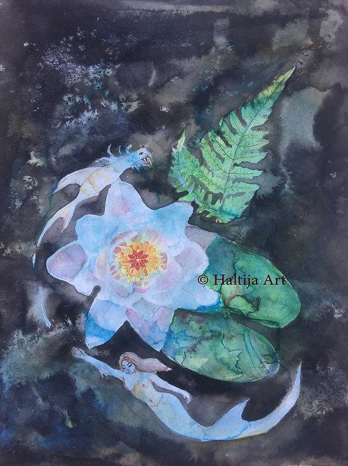"""The Nocturnal Garden"", an original visionary artwork by Haltija Art"