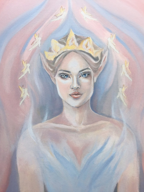 """The Elven Princess"", an original visionary painting by Haltija Art"