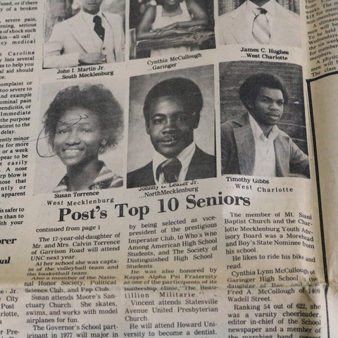 Mrs. Susan Brown is recognized with other Black students in the Charlotte Post as a Top Senior.