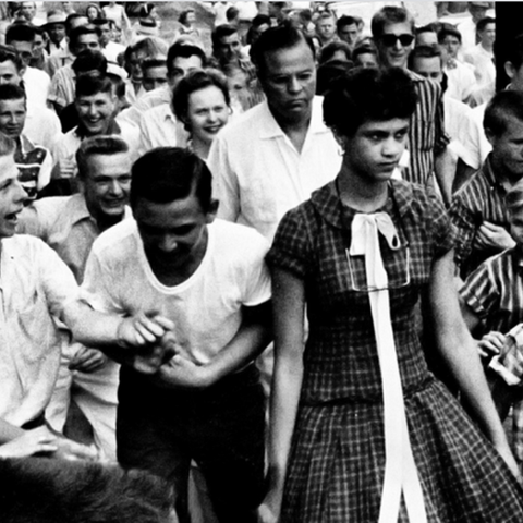 Picture of Dorothy Counts on the first day of integration at Harding HS.