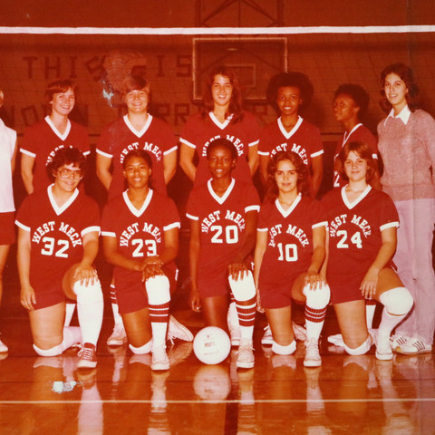 Mrs. Susan Brown and the West Meck Volleyball Team in 1978.
