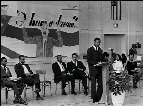 A student assembly in 1969.