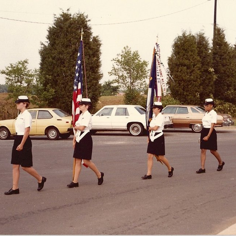 Cheryl Riley and the South Mecklenburg JROTC Color Guard in 1985.