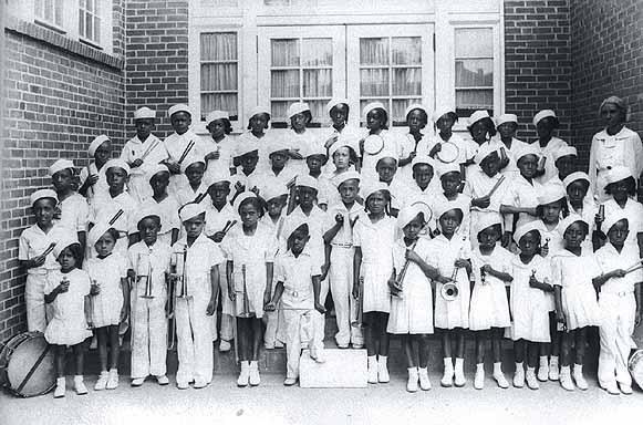 Black children band at Alexander Street school in 1939.