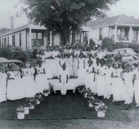 The 1946 May Queen court in Charlotte.