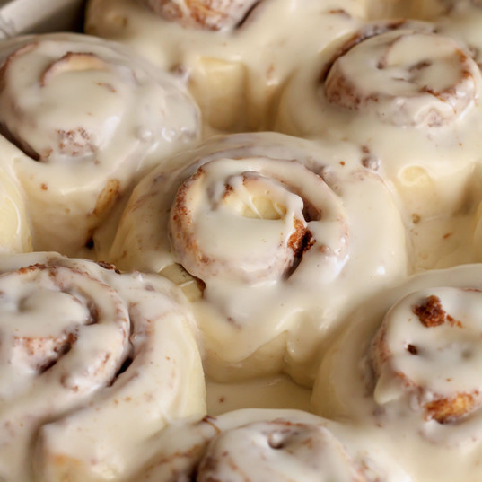 Full of brown sugar and cinnamon goodness and topped with a homemade cream cheese icing, our cinnamon rolls are a popular item that are the ultimate in comfort.