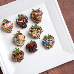 Dipped in white or milk chocolate, our chocolate covered strawberries are great plain or with added toppings such as sprinkles, almonds, or even mini chocolate chips!