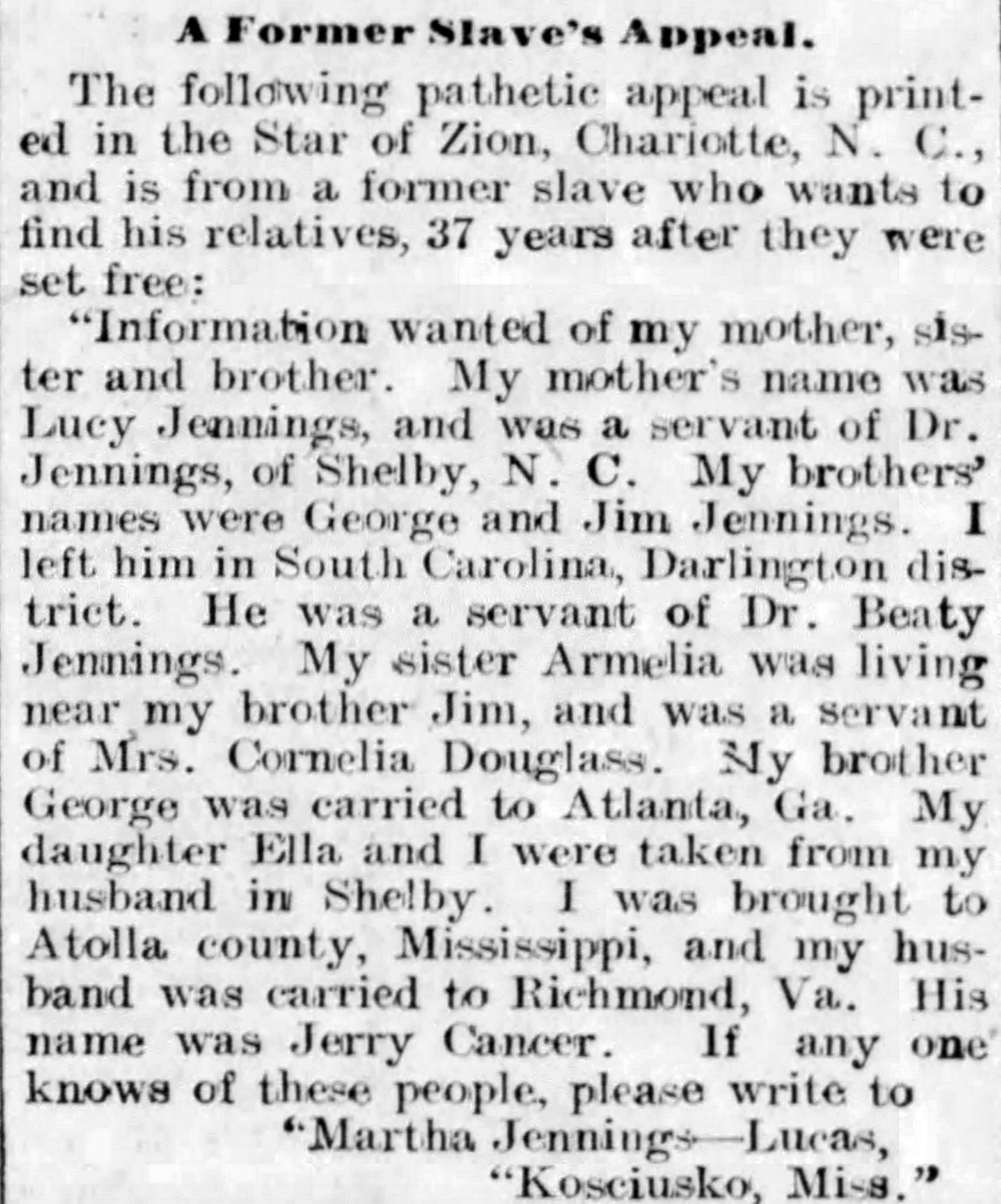 A former Slave's Appeal Harrisburg T