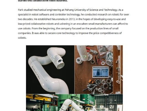 Neuromeka, a Pioneer of Collaborative Robot Market