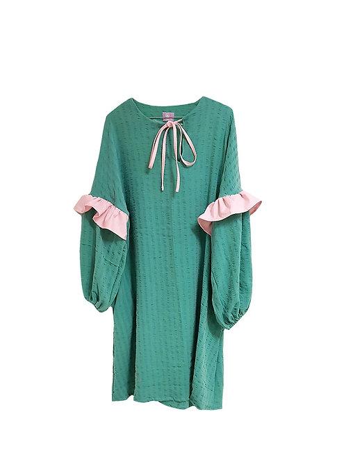 Amalie Dress Green & Pink