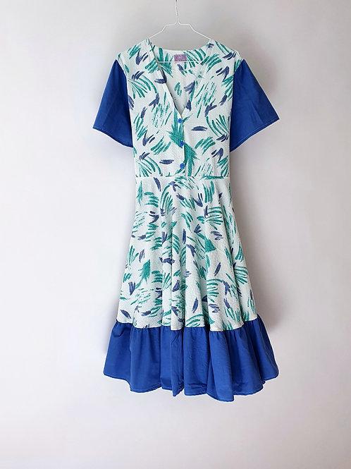 Frida Dress Blue & Green 90's Graphic