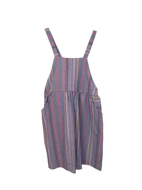 Caroline Dress in Blue w/Rainbow Stripes
