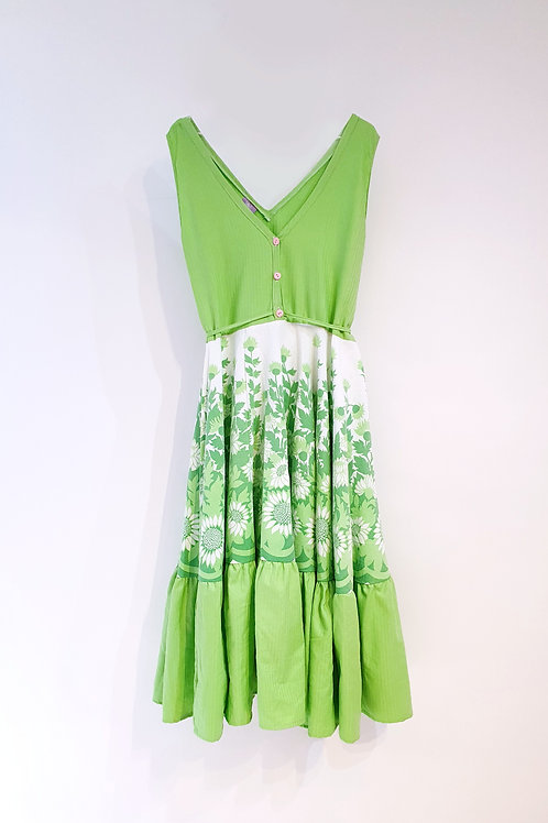 Frida Dress Green Thistles