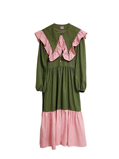 Klara Dress Dark Green & Pink